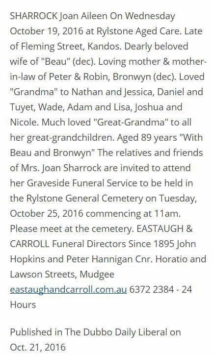 obituary Joan Sharrock
