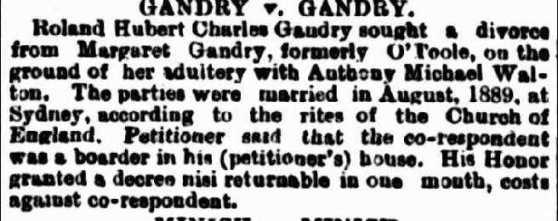 divorce notice RHC Gaudry OToole
