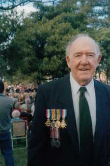Gordon wore his father William Henry's WW1 medals in the Anzac Day march.