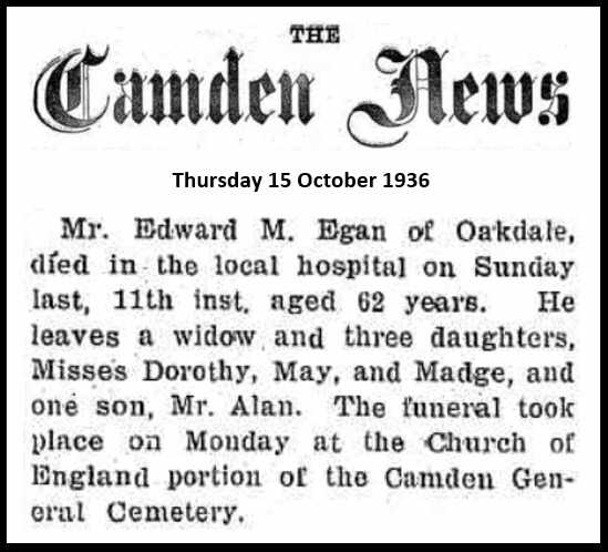 obituary EM Egan