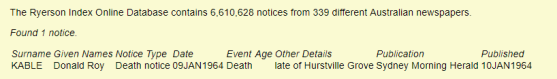 SMH 10.01.1964 Death Notice D R Kable