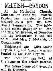 Valerie (Brydon) McLiesh Wedding Notice 1