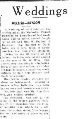 Valerie (Brydon) McLiesh Wedding Notice 2